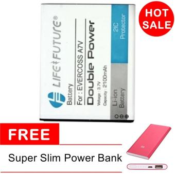 Life & Future Baterai For Evercoss A7V + Power Bank Super Slim