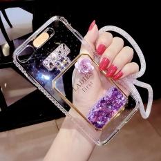 "Liquid Quicksand Glitter Case For iPhone 7 Plus 5.5"" Soft TPU LEDFlash Incoming Call Blink Flashlight Cover Dynamic Bling PerfumeBottle Purple - intl"