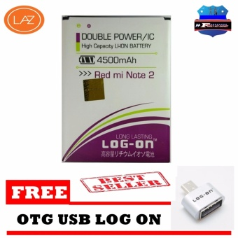 LOG-ON Battery Baterai Double Power Xiaomi Redmi Note 2 - 4500mAh +Gratis OTG
