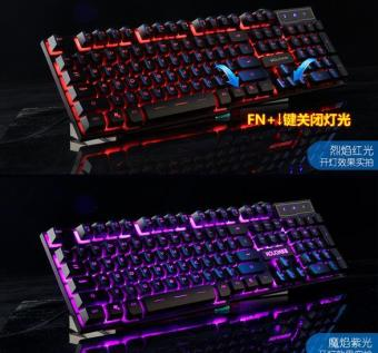 LOLCF backlit gaming computer luminescence mechanical touchnotebook external USB wired keyboard - intl - 2