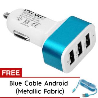 Lucky - Car Charger 5.1A 3 Port Casan Mobil + Gratis Kabel Tali Metallic Micro Usb Android - Biru
