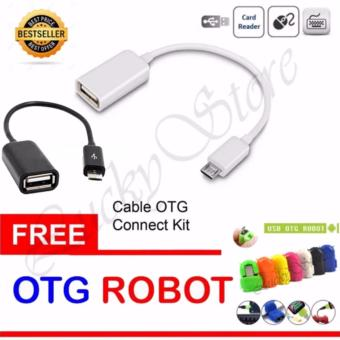 Lucky - OTG Cable Connection Kit Mobile Phone / Kabel OTG - Random + Gratis OTG Adapter Micro USB Robot - 1 Pcs (Random Color)