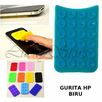 Lucky - Tempelan Belakang HP Stand Holder Gurita Universal 24 Tentakel Perekat Handphone - Biru