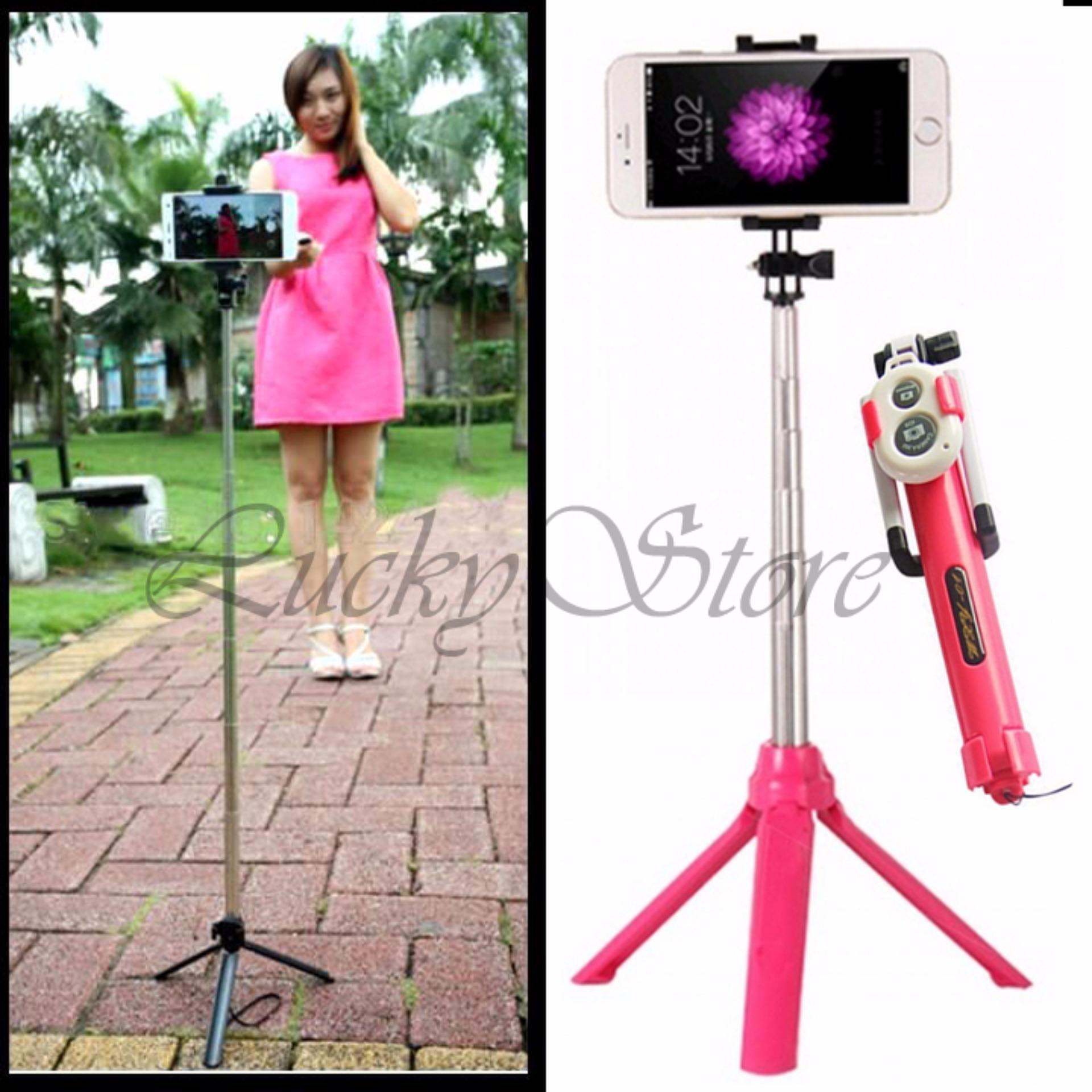 Lucky - Tongsis 3 in 1 With Bluetooth + Tripod Selfie Stick -