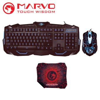 Marvo KM400 Combo Gaming Keyboard & Mouse - LED Backlight 3 Colour - 6D - Hitam