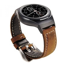 Maxjoy untuk Gear S2 Band, Genuine Leather Watch Penggantian Gelang Band Kecil/Besar Strap dengan Stainless Steel Clasp & Adaptor untuk Samsung Gear S2 SM-R720/R730 Sport Smart Watch, Brown-Intl