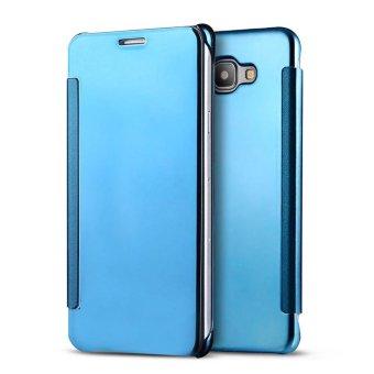 Meishengkai Case For Samsung Galaxy C9 Pro Flip Specular MirrorProtective Cover Case with Smart Sleep Blue - intl