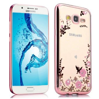 Meishengkai Case For Samsung Galaxy J5 2015 Secret Garden PremiumSoft TPU Plating Bling Glitter Transparent Back