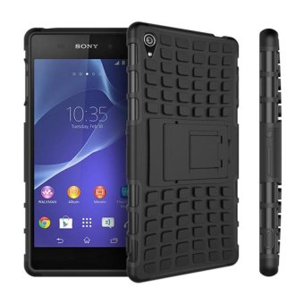 Meishengkai Case For Sony Xperia Z3 Detachable 2 in 1 ShockproofTough Rugged Prevent Slipping Dual-Layer Case Cover With Built-inKickstand Black - intl