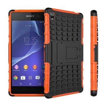 Meishengkai Case For Sony Xperia Z3 Detachable 2 in 1 ShockproofTough Rugged Prevent Slipping Dual-Layer Case Cover With Built-inKickstand Orange - intl