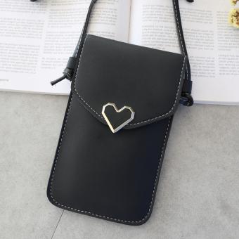 Mencium wanita transparan berbentuk hati logam dekoratif handphone tas