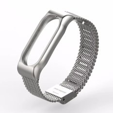 MiJobs Replaceable Stainless Steel Wrist Strap for Xiaomi Mi Band 2 Smart Bracelet - Silver