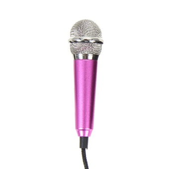 Mini Condenser Microphone with 3.5mm Plug Mobile Phone and Mic Stand(Rose) - intl