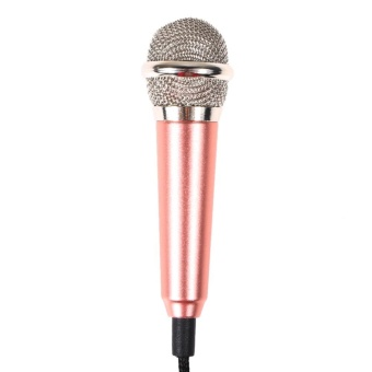Mini Condenser Microphone with 3.5mm Plug Mobile Phone and MicStand(Gold) - intl