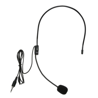Mini Headset Ringan Portable 3,5 Mm Thread Jack Kondensor Mikrofon (Hitam)