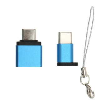 Mini Key Ring Type Type-C USB Female to Micro USB Male Adapter Converter (Blue) - intl