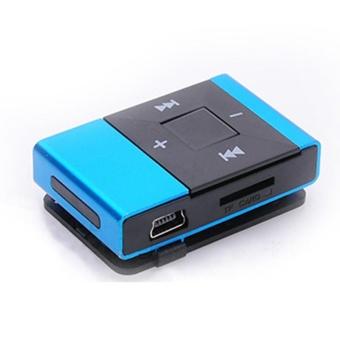 Mini USB Clip Digital Mp3 Music Player Support 8GB SD TF Card Blue- intl