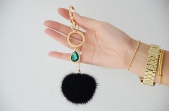 JUAL Mink rambut hijau batu permata bola rambut gantungan kunci barang-barang kulit MURAH