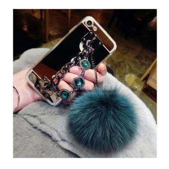 Mirror TPU + Luxury diamond chain hair ball +lanyard phone case cover for Oppo R7