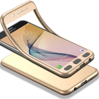 MOONCASE Galaxy J5 Prime (2017) Full-Body Case Shockproof Soft TPU Matte Finish Slim Cover 2 in 1 Full Coverage Protection with Tempered Glass Screen Protector for Samsung Galaxy J5 Prime (2017) Gold - intl