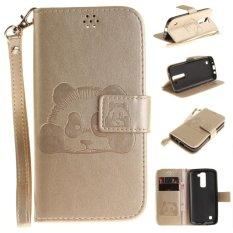 Moonmini Case for LG K7 3D Panda PU Leather Flip Case - Golden - intl