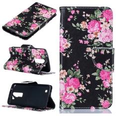 Moonmini Case untuk Lg K7/LG K8 Lucky Clover Pu Flip Stand Cover Case-peony-Intl