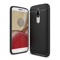 Moonmini untuk Moto Rola Moto M Carbon Fiber Tekstur Brushed Soft TPU Anti-slip Back Case-hitam- INTL
