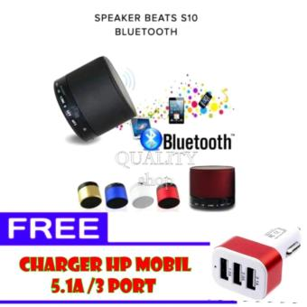 Music Speaker Bluetooth Portable S10 + Free Charger HP Mobil 5.1A /3 Port .