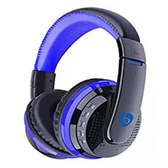 New MX666 Over ear headphone Wireless Bluetooth stereo headsets Noise cancelling headphone with Mic Support FM/SD Card for iPhone Tablets PC(Blue) - intl