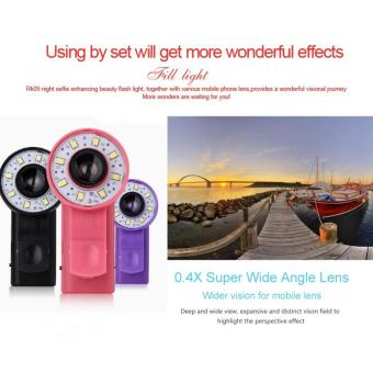 Next Lensa Clip-on Phone Selfie 8 LED Flash Light Lamp Wide Angle Lens