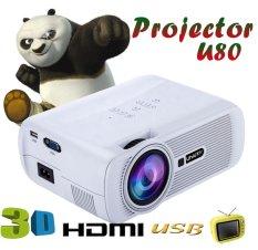niceEshop 1000 lumen LCD Mini Proyektor memimpin 1080P HD Rumah Sinema Proyektor teater (putih,