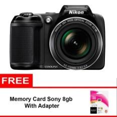 Nikon Coolpix L340 - 20.2 MP - 28x Optical Zoom - Hitam + Gratis Memory Sony 8GB