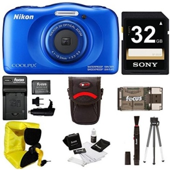 Nikon Coolpix W100 Rugged Digital Camera (Blue) + 32GB Card + with Charger + Floating Strap + Bundle - intl