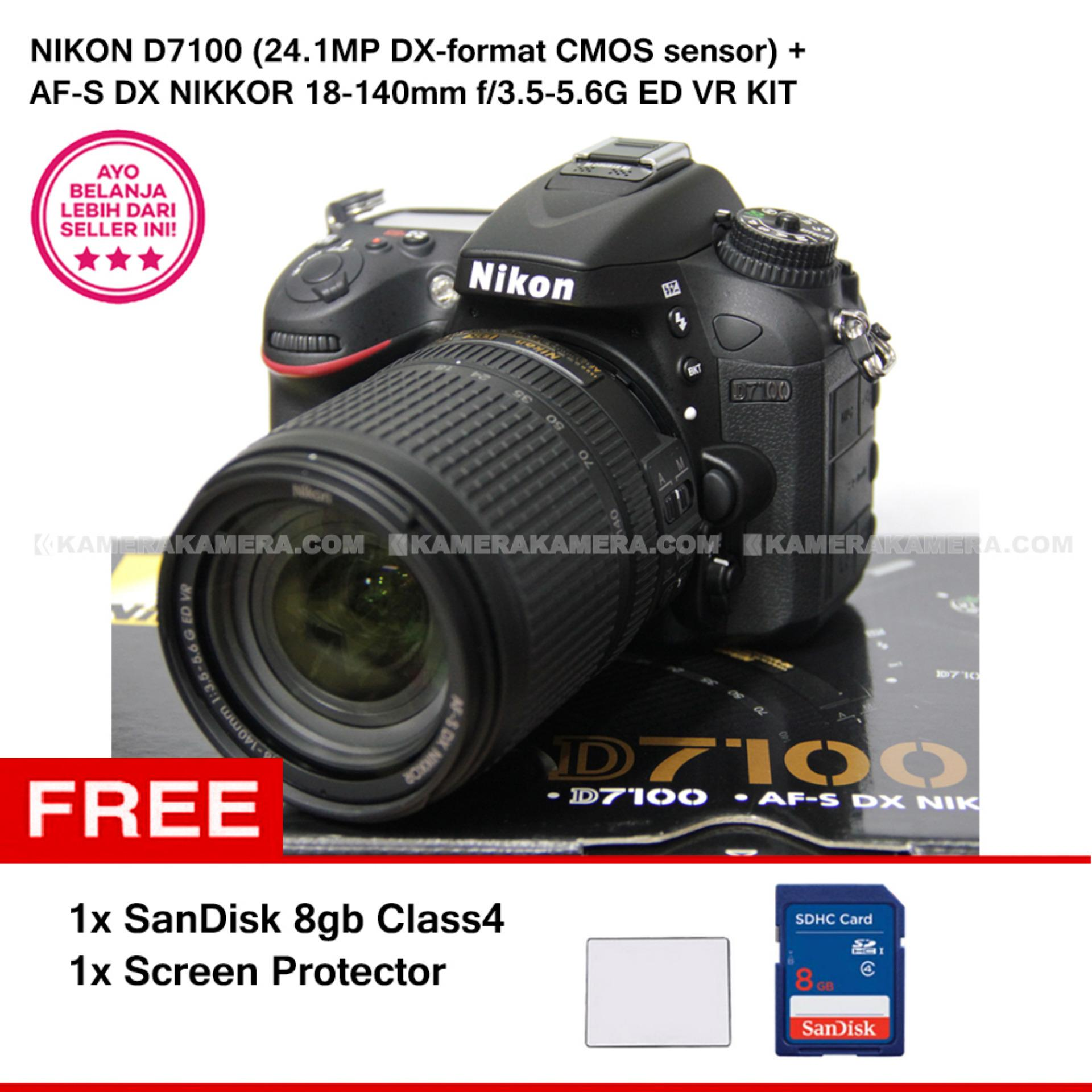 NIKON D7100 (24.1MP DX-format CMOS sensor) + AF-S DX NIKKOR 18-140mm f/3.5-5.6G ED VR KIT + SanDisk 8Gb + Screen Protector