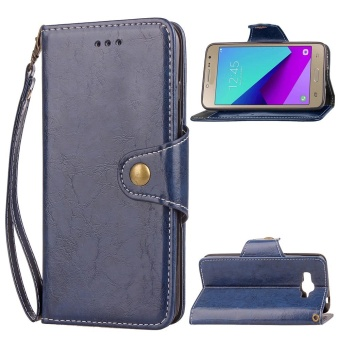 OEM Wallet Cases For Samsung Galaxy J2 Prime Retro PU Leather Cover With Card Pockets Strong Hand Strap Black Color
