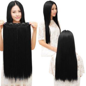 BELI OH Fashion 34 penuh kepala klip di ekstensi rambut lurus keriting dengan 5 klip lama hitam rambut lurus MURAH