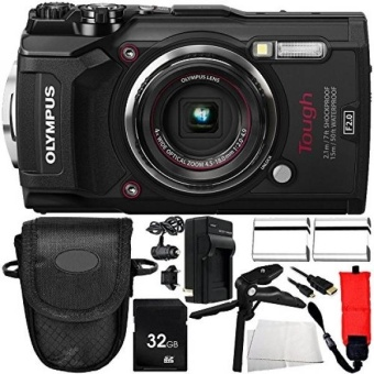 Olympus TG-5 Digital Camera (Black) 10PC Accessory Bundle – Includes 2x Replacement Batteries + AC/DC Rapid Home & Travel Charger + MORE - intl