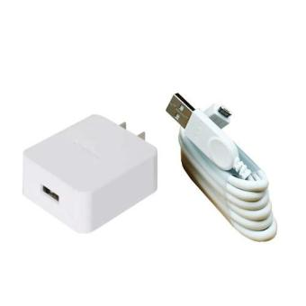 Oppo CF1001 Travel Adapter Charger Head + USB Cable Micro USB Ori -White / Putih