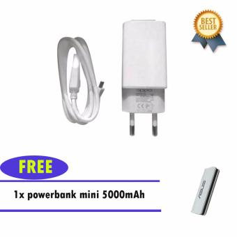 Oppo Travel Charger 10.5W Model S11C20 Superior Speed Kabel MicroUSB - Putih Original + Power Bank 5000mAh