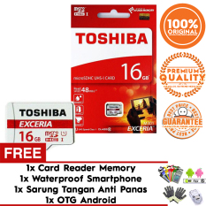 Original 100% Toshiba Micro SD 16GB Exceria UHS-1 Class 10 48Mb/s Free Sarung Tangan + Card Reader + OTG Android + Waterproof