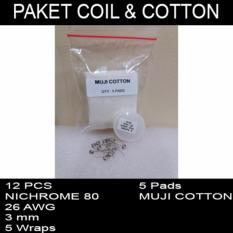 Paket Coil and cotton / kawat dan kapas NICHROME80 26 AWG MUJI JAPAN