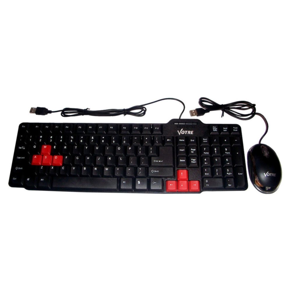 Paketan Keyboard USB KB2308 + Mouse Optic Lampu USB