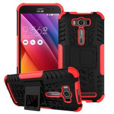 PC TPU Kickstand Case Shell Untuk Asus Zenfone 2 Laser ZE500KG ZE500KL 5.0-inch (Merah)