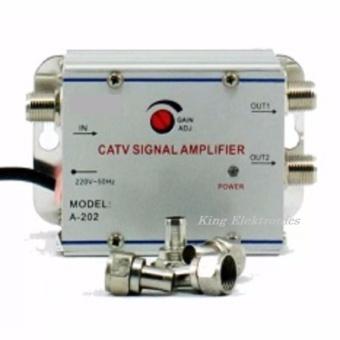Jual Penguat Penjernih Sinyal Frekwensi Tv Antena  2 Way Splitter Catv Signal Amplifier Booster Indoor Outdoor Murah