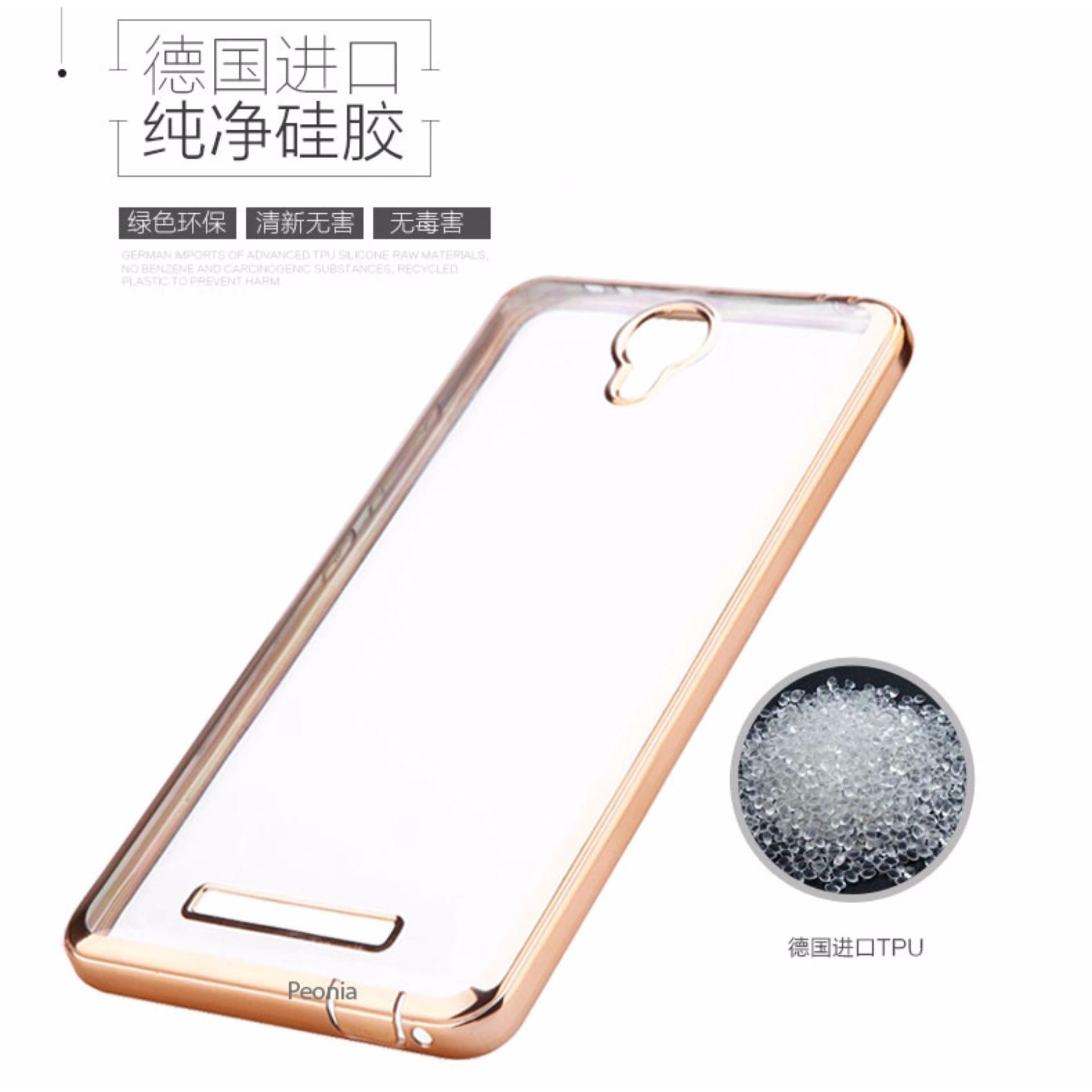 Peonia Aircase Ultrathin Luxury Plating Gilded Crystal Clear Case For Redmi Note 2 .
