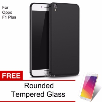 Peonia Anti Fingerprint Premium Quality Grade A Ultraslim Hybrid Case for Oppo F1 Plus / R9 - Hitam + Rounded Tempered Glass