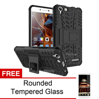 Peonia Kickstand Defender Case for Lenovo K5 Plus / K5 - Black + Rounded Tempered Glass