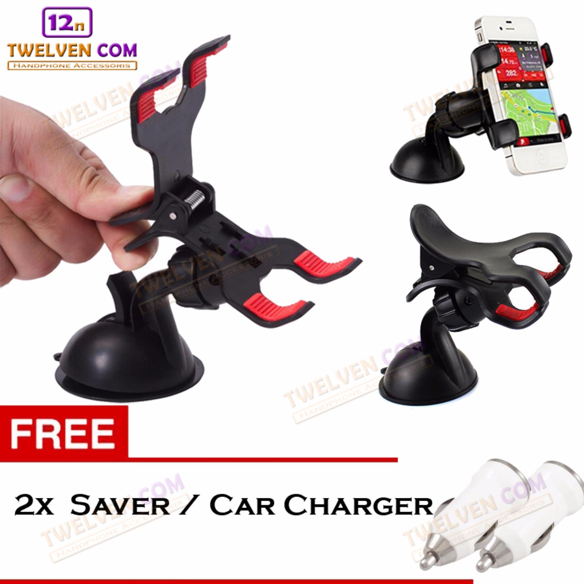 Phone Holder Mobil Universal Untuk HP / GPS - Hitam + Free 2 Pcs Saver / Car Charger