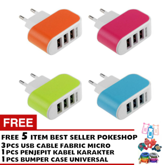 Pokeshop Premium LED USB Charger 3 Port 3.1A - Casan Colokan Hp -Random - Gratis 3pc Kabel Data Android Micro USB Cable + penjepitkabel + bumper case smartphone