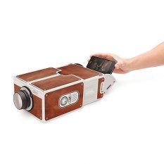 Portable DIY Kardus Smart Ponsel Proyektor V2.0 1400 Cinema Proyektor Mini Toy Gift Hadir untuk Pesta Holiday-Intl